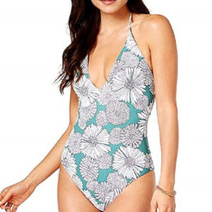 Raisins Floral Plunge Halter One Piece Swimsuit